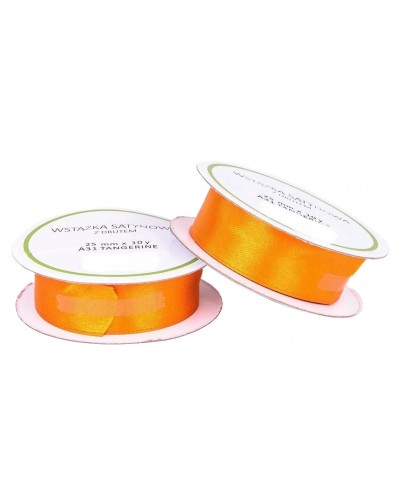 Wstążka tasiemka satynowa z drutem 25mm Jasny pomarańcz