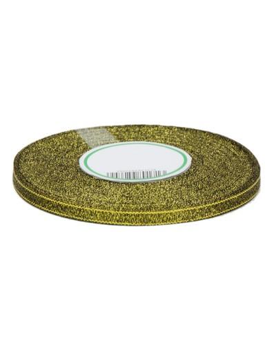 Wstążka tasiemka brokatowa 6mm black gold