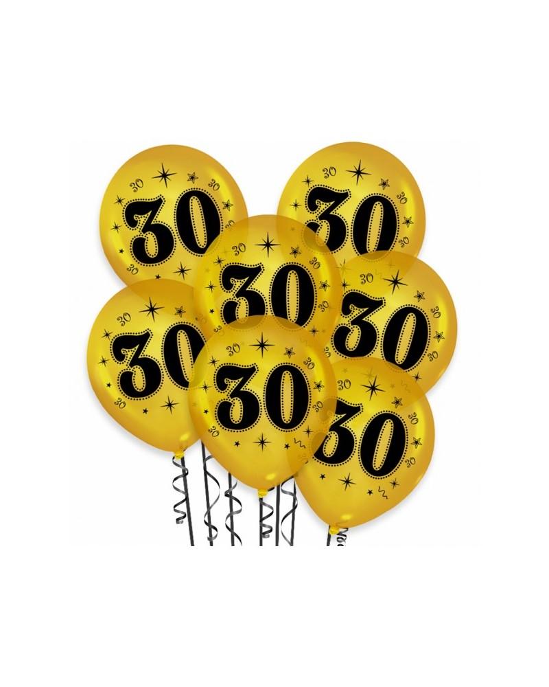 Złote balony na 30 urodziny 10 sztuk