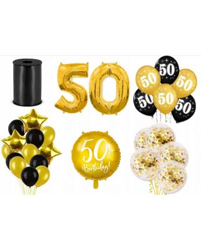 Zestaw dekoracji na 50 urodziny złoty
