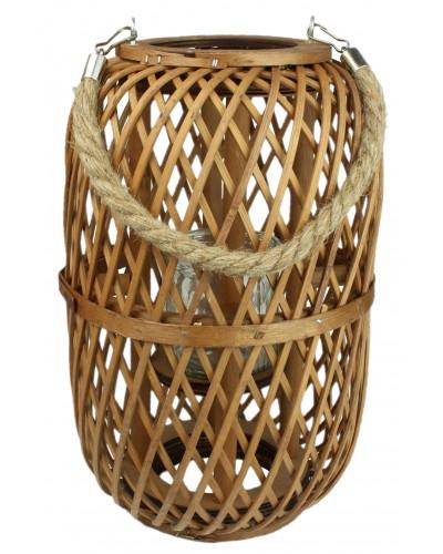 Lampion Bambusowy Świecznik Ze Sznurem 30 cm