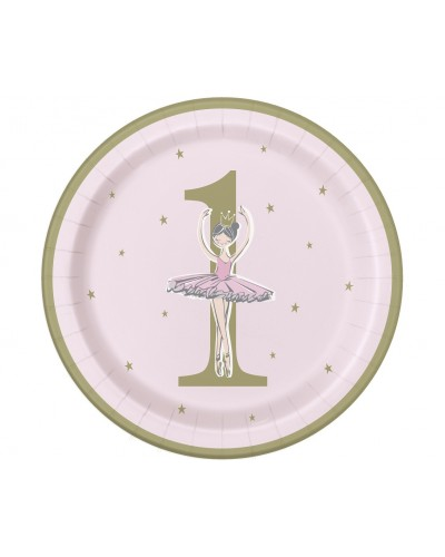Talerzyki papierowe Ballerina 1st birthday