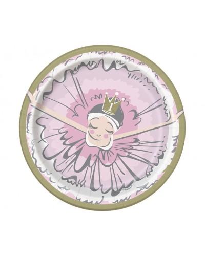 Talerzyki papierowe Ballerina 1st birthday small