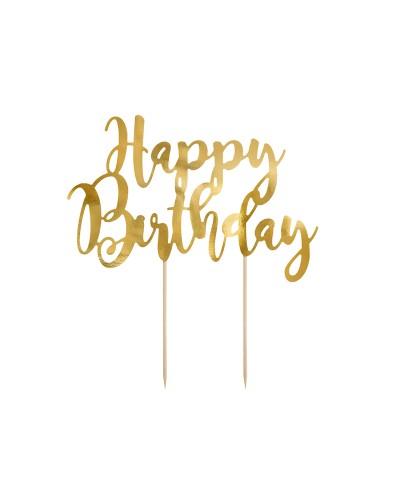 """Topper """" Happy Birthday"""" Złoty"""