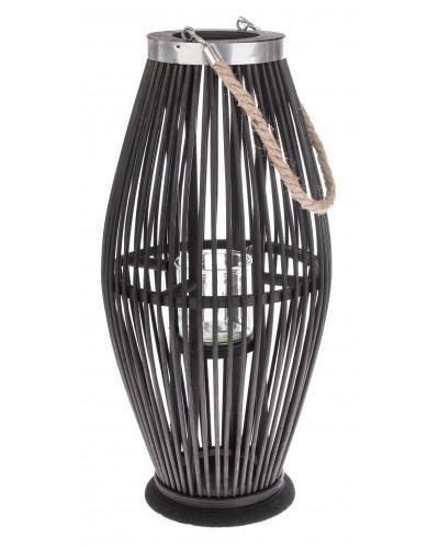 Lampion Bambusowy Szklany Świecznik Czarny 50cm