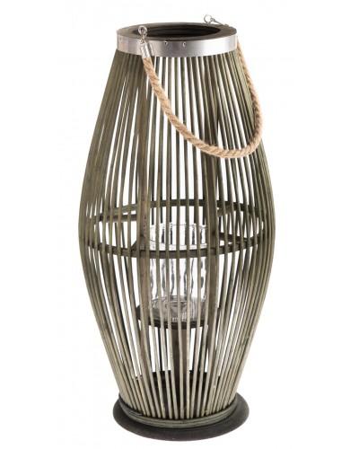 Lampion Bambusowy Szklany Świecznik Butelkowa Zieleń 59cm