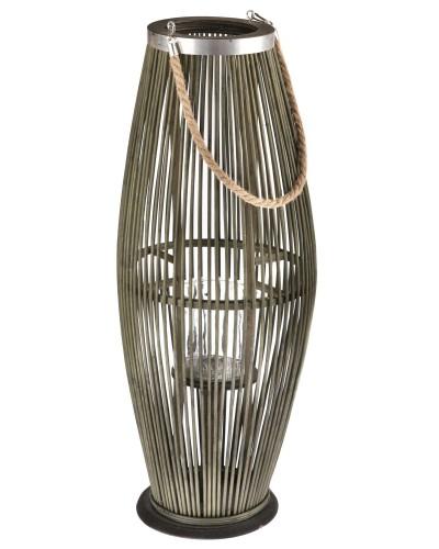 Lampion Bambusowy Szklany Świecznik Butelkowa Zieleń 72cm