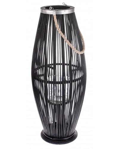 Lampion Bambusowy Szklany Świecznik Czarny 72cm