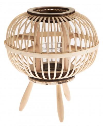 Lampion Bambusowy Słomkowy Na Nóżkach