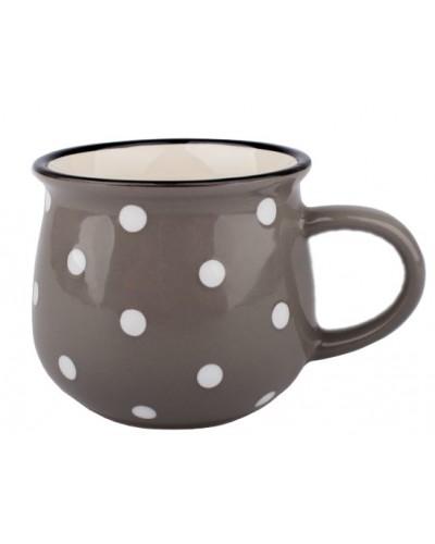 Kubek Ceramiczny w Groszki Szary