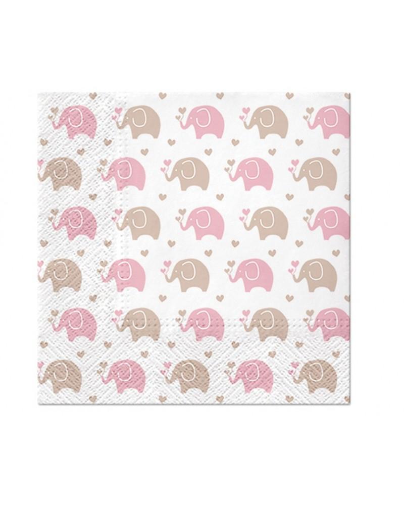 Serwetki Baby Elephants Pink