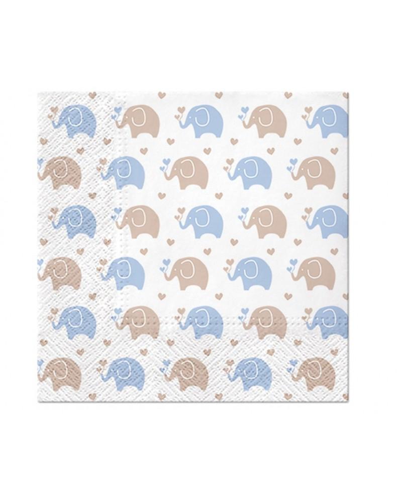 Serwetki Baby Elephants Blue