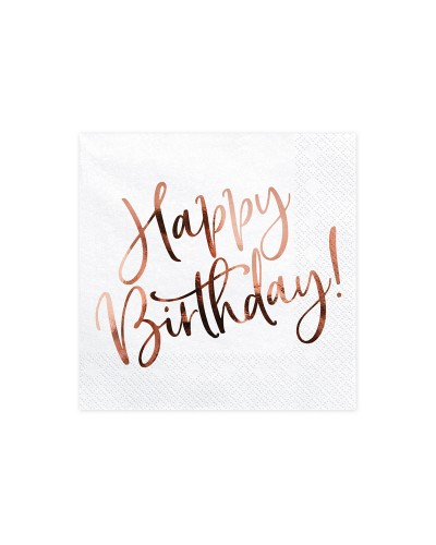 Serwetki Happy Birthday rose gold