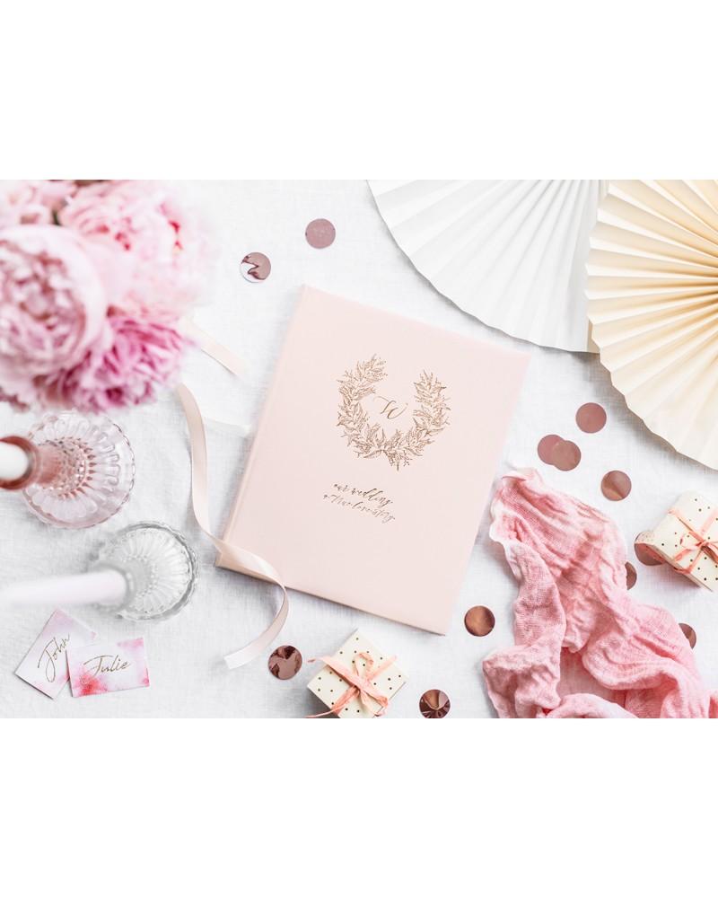 Księga Gości Różowa Złoty Wianuszek