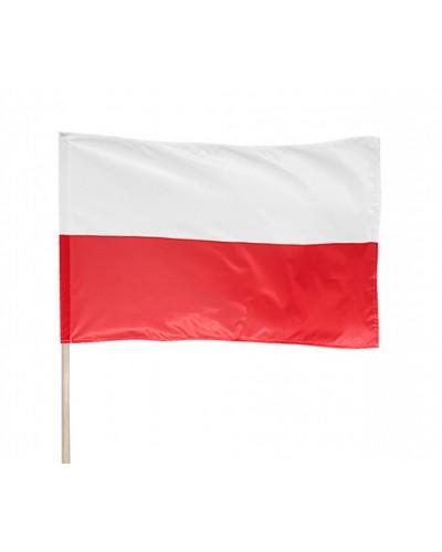 Flaga Polski Na Drzewcu 110 x 68 cm