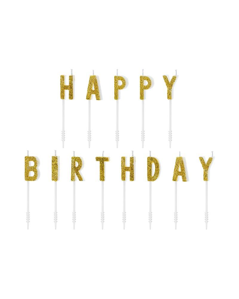 Świeczki Pikery Happy Birthday Złote
