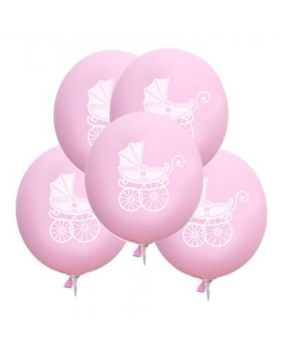 Balony na Chrzest Wózek Zestaw 5 sztuk Różowy