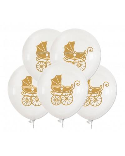 Balony na Chrzest Wózek Zestaw 5 sztuk Biały