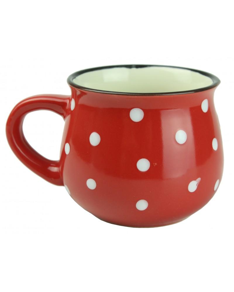 Kubek Ceramiczny w Kropki 230ml Czerwony