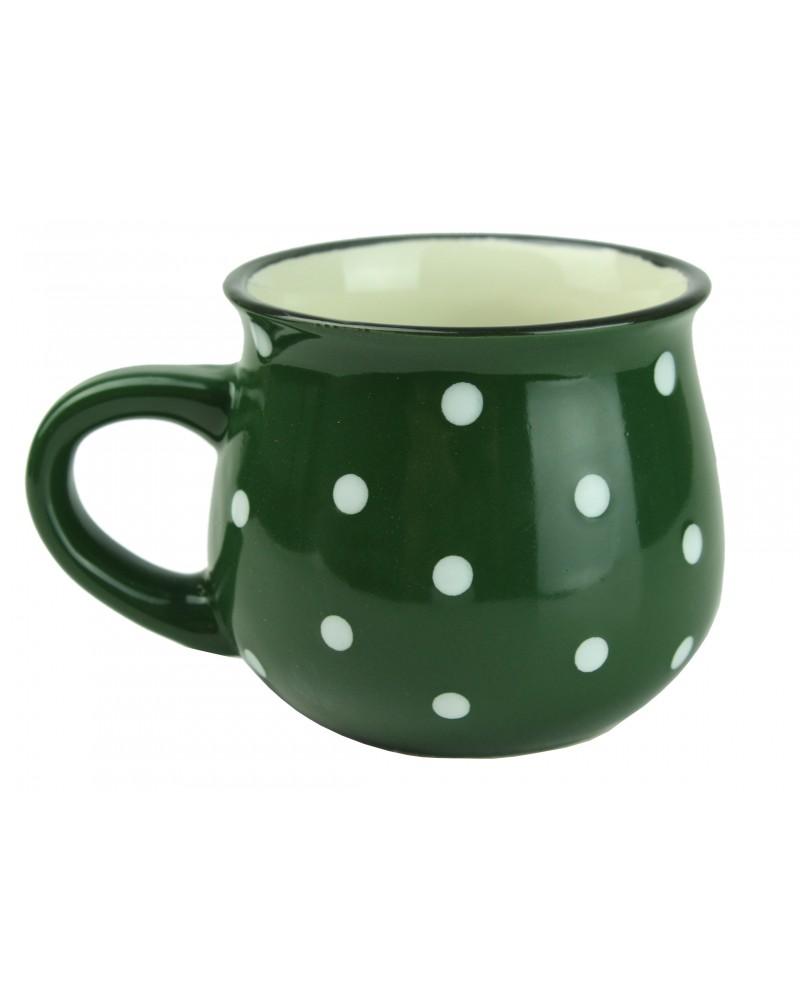 Kubek Ceramiczny w Kropki 230ml Zielony