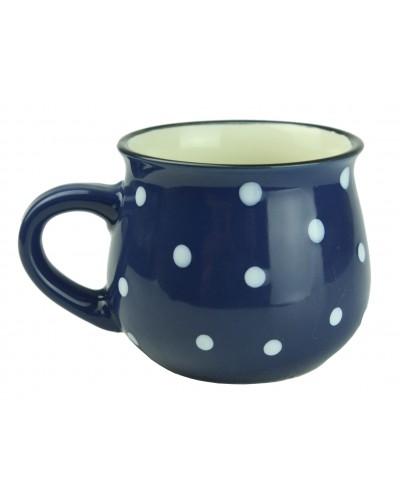 Kubek Ceramiczny w Kropki 230ml Granatowy