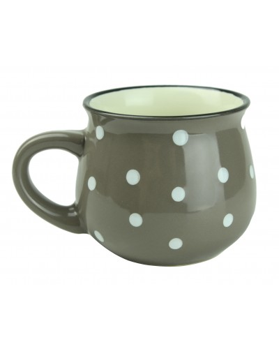 Kubek Ceramiczny w Kropki 230ml Szary