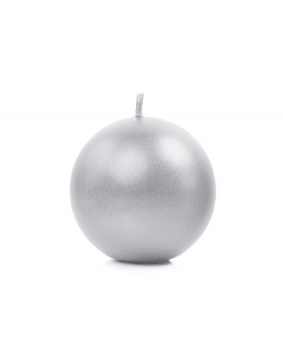 Świeca kula metalizowana srebrna 6cm
