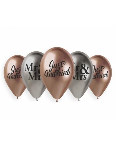 "Balony Shiny Premium ""Just Married Mr&Mrs"""