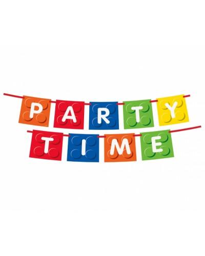 """Banner urodzinowy z napisem """"Party Time""""- Klocki"""