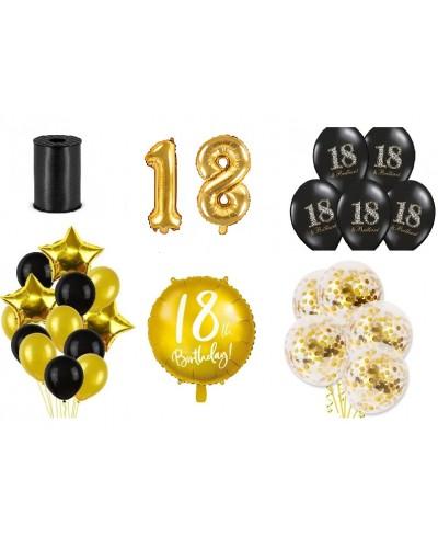 Zestaw z balonami na 18 urodziny, Czarno Złoty