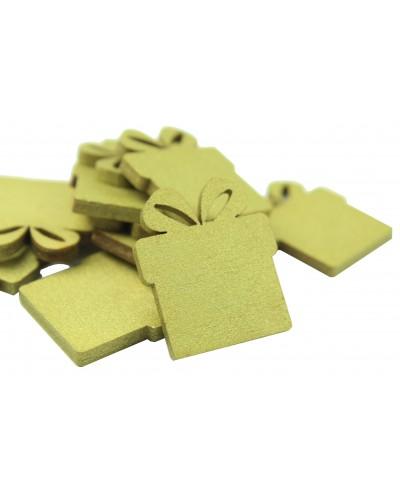 Drewniane prezenciki w kolorze złotym 10 szt.