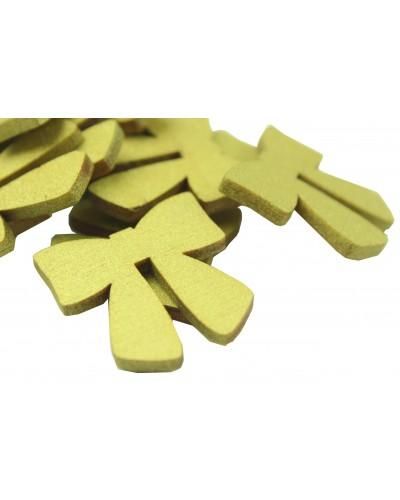 Drewniane kokardki w kolorze złotym 10 szt.