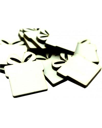 Drewniane prezenciki w kolorze białym 10 szt.
