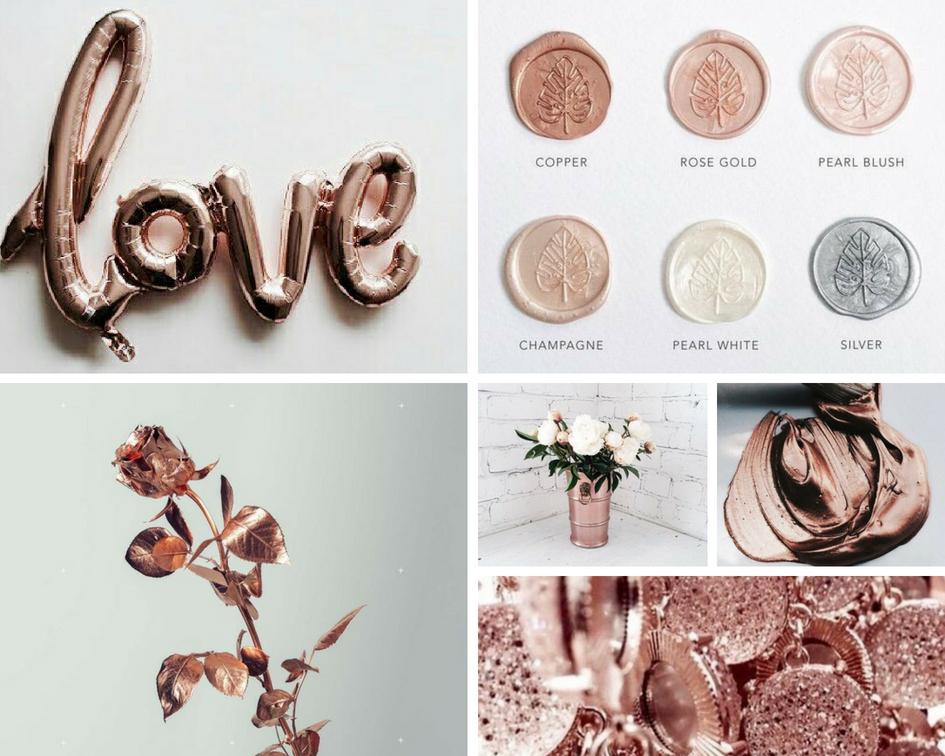 różowe złoto wesele